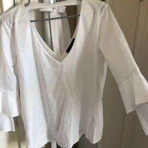 high street Tops - White blouse with ruffle sleeves